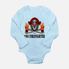 Firefighter Skull and Flaming Axes 10 Body Suit