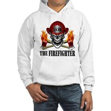 Firefighter Skull and Flaming Ax Hoodie