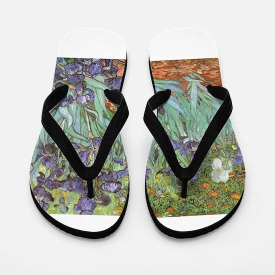 Van Gogh Irises, Vintage Post Impressio Flip Flops