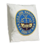 USS JOHN MARSHALL Burlap Throw Pillow