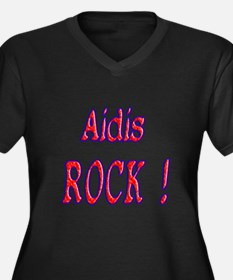 Aidis Rock ! Women's Plus Size V-Neck Dark T-Shirt
