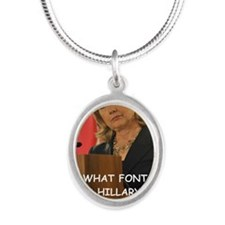 anti hillary clinton Silver Oval Necklace
