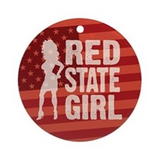 Red State Girl Ornament (Round)
