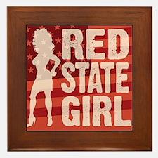 Red State Girl Framed Tile