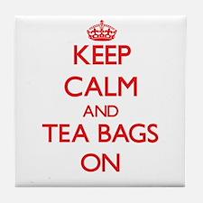 Keep Calm and Tea Bags ON Tile Coaster