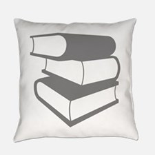 Stack of Three Gray Books Everyday Pillow