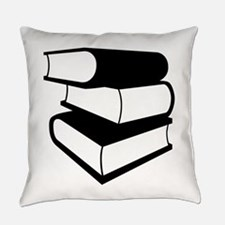 Stack of Three Black Books Everyday Pillow