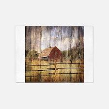 farm red barn wood 5'x7'Area Rug