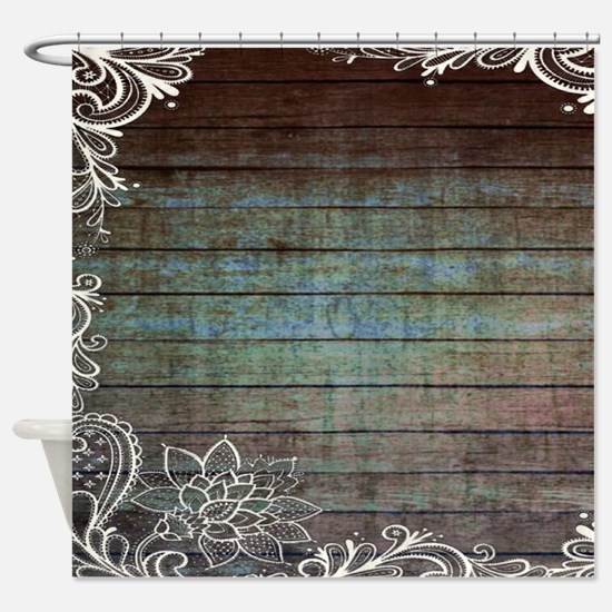 modern lace woodgrain country decor Shower Curtain