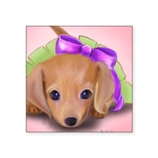"ByCatiaCho Petal Doxie Square Sticker 3"" x 3"""