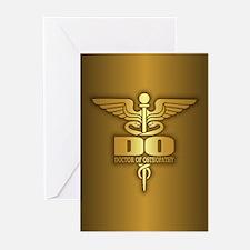 Gold Caduceus (DO) Greeting Cards