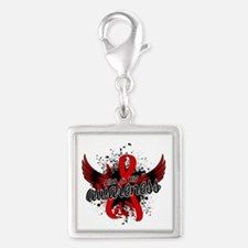 AIDS & HIV Awareness 16 Silver Square Charm