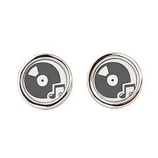 music p 36-Mus gray Round Cufflinks