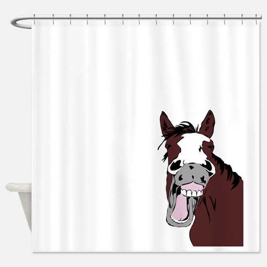 Cartoon Horse Laughing Funny Equestrian Art Shower