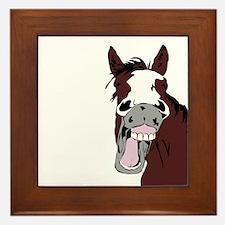 Cartoon Horse Laughing Funny Equestrian Art Framed