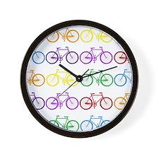 rainbow bicycles Wall Clock