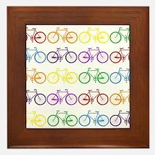 rainbow bicycles Framed Tile