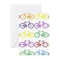 rainbow bicycles Greeting Cards