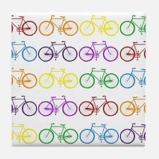 rainbow bicycles Tile Coaster