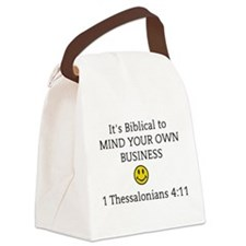 Mind Your Own Business, It's Bibl Canvas Lunch Bag