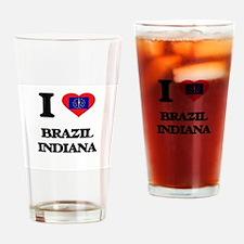 I love Brazil Indiana Drinking Glass