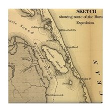 Vintage Map of The Outer Banks (1862) Tile Coaster