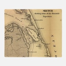 Vintage Map of The Outer Banks (1862 Throw Blanket