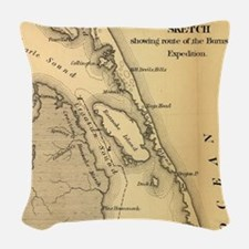 Vintage Map of The Outer Banks Woven Throw Pillow