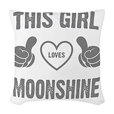 THIS GIRL LOVE MOONSHINE Woven Throw Pillow