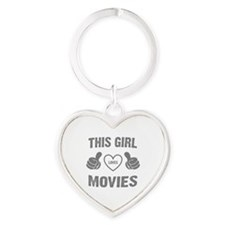 THIS GIRL LOVES MOVIES Heart Keychain