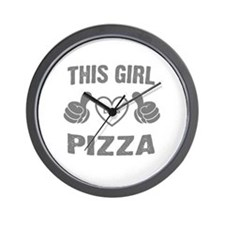 THIS GIRL LOVES PIZZA Wall Clock