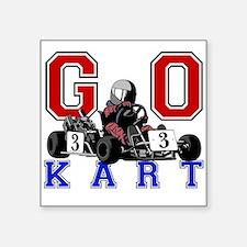 "Kids Go Kart Racing Square Sticker 3"" x 3"""