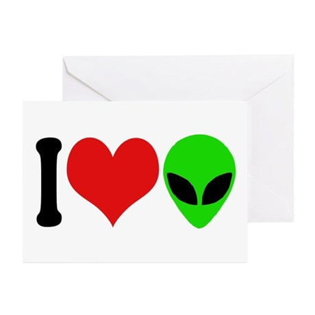 I Love Aliens Greeting Cards (Pk of 10)