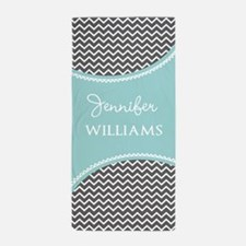 Gray and Aqua Chveron Personalized Beach Towel