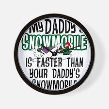 Daddy's Snowmobile Wall Clock