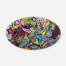 Unique Floral Oval Car Magnet