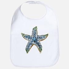 Rhinestone Starfish Costume Jewelry Sapphire B Bib