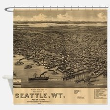 Vintage Pictorial Map of Seattle (1 Shower Curtain