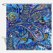 Blue Paisley Shower Curtain