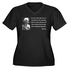 Mark Twain 8 Women's Plus Size V-Neck Dark T-Shirt