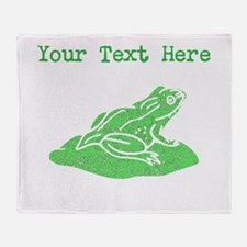 Distressed Green Frog On Lilypad (Custom) Throw Bl