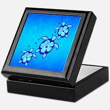 3 Blue Honu Turtles Keepsake Box