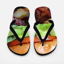 novelty bacon hamburger Flip Flops