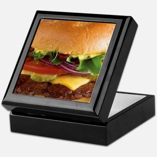 funny cheeseburger Keepsake Box