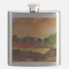 funny cheeseburger Flask