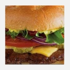 funny cheeseburger Tile Coaster