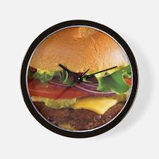 funny cheeseburger Wall Clock