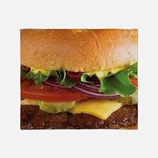 funny cheeseburger Throw Blanket