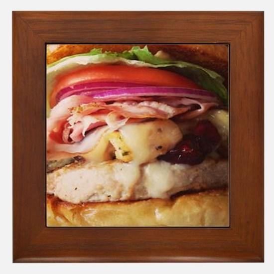 funny chicken burger Framed Tile