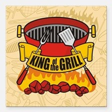 "King of the Grill Square Car Magnet 3"" x 3"""